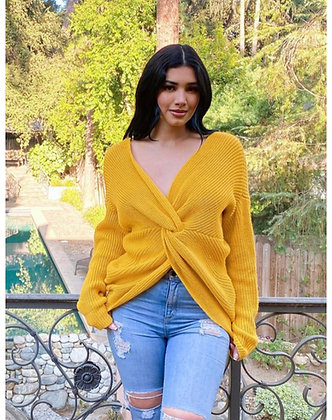 Yellow wrap sweater