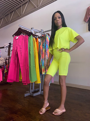 Lime biker two piece