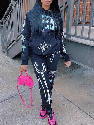 Black graphic jogger
