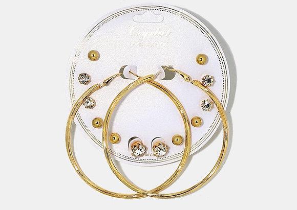 7 pair stud and hoops set