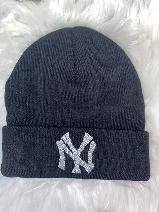 Black & mermaid silver Ny hat
