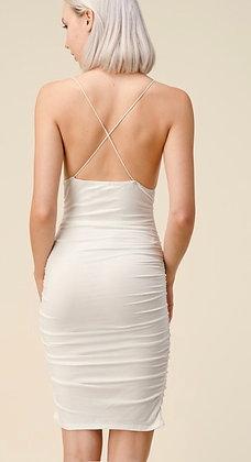 White scrunch dress
