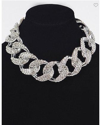 Silver jumbo rhinestone necklace