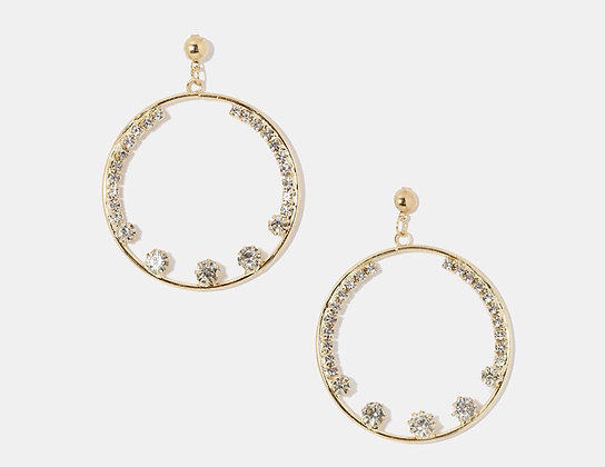 Large rhinestone accent hoops