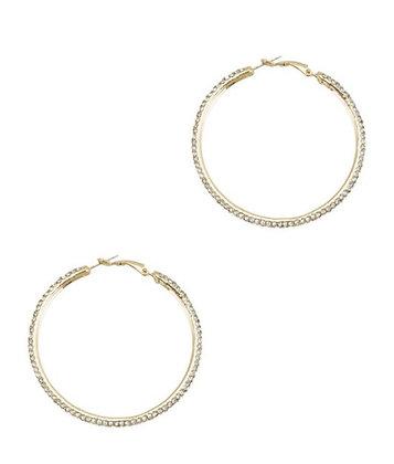 Gold stone hoop earrings
