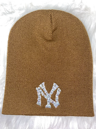 Brown & mermaid silver Ny hat