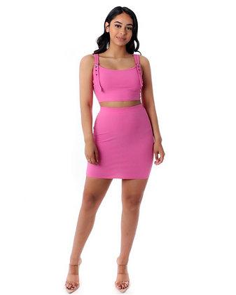 Pink buckle skirt set