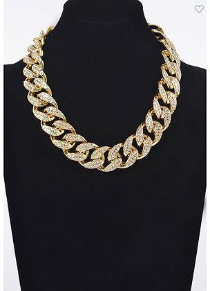 Gold jumbo rhinestone necklace
