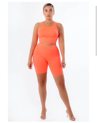 Neon orange biker set