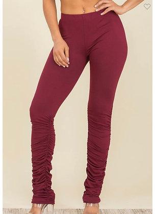 Burgundy stacked legging