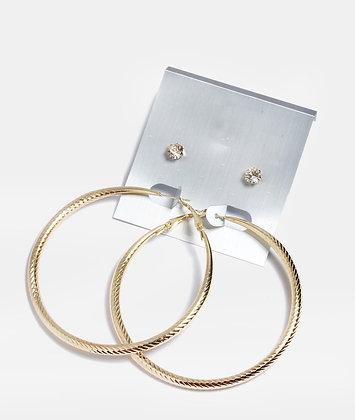 2 pair gem stud and hoop set