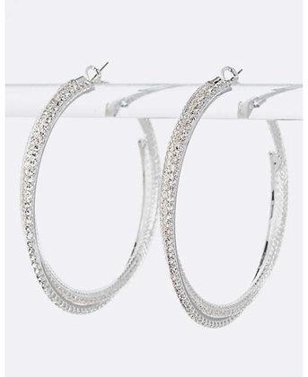 Silver Rhinestone crisscross hoops