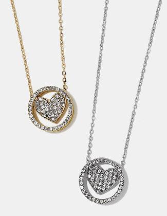 Gemstone heart circle necklace