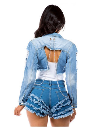 Chain denim jacket