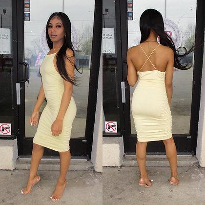 Yellow scrunch dress