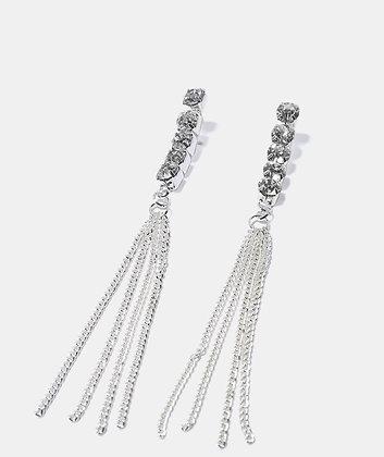 Gemstone chain tassel earrings