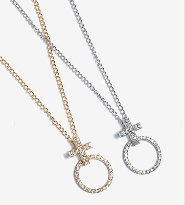 Cross Rhinestone ring necklace