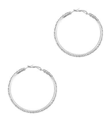 Silver stone hoop earrings