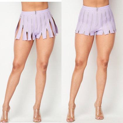 Purple zip shorts