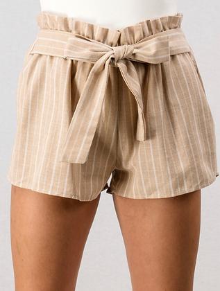 Tie shorts tan