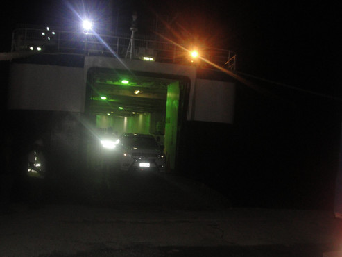 offloading car and trailer from ship to