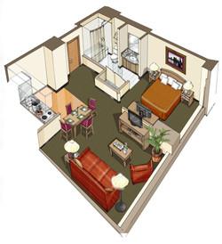 Hotel Room Rendering