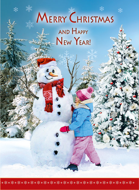 Merry Christmas Happy New Year Card B6L