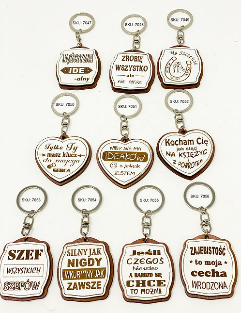 Keychains Sentences Made Of Wood