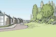 Proposed residential development - berm with buffer planting