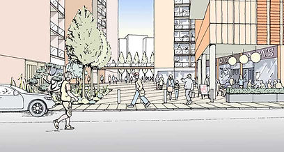Public square serving proposed residential development with retail and cafes