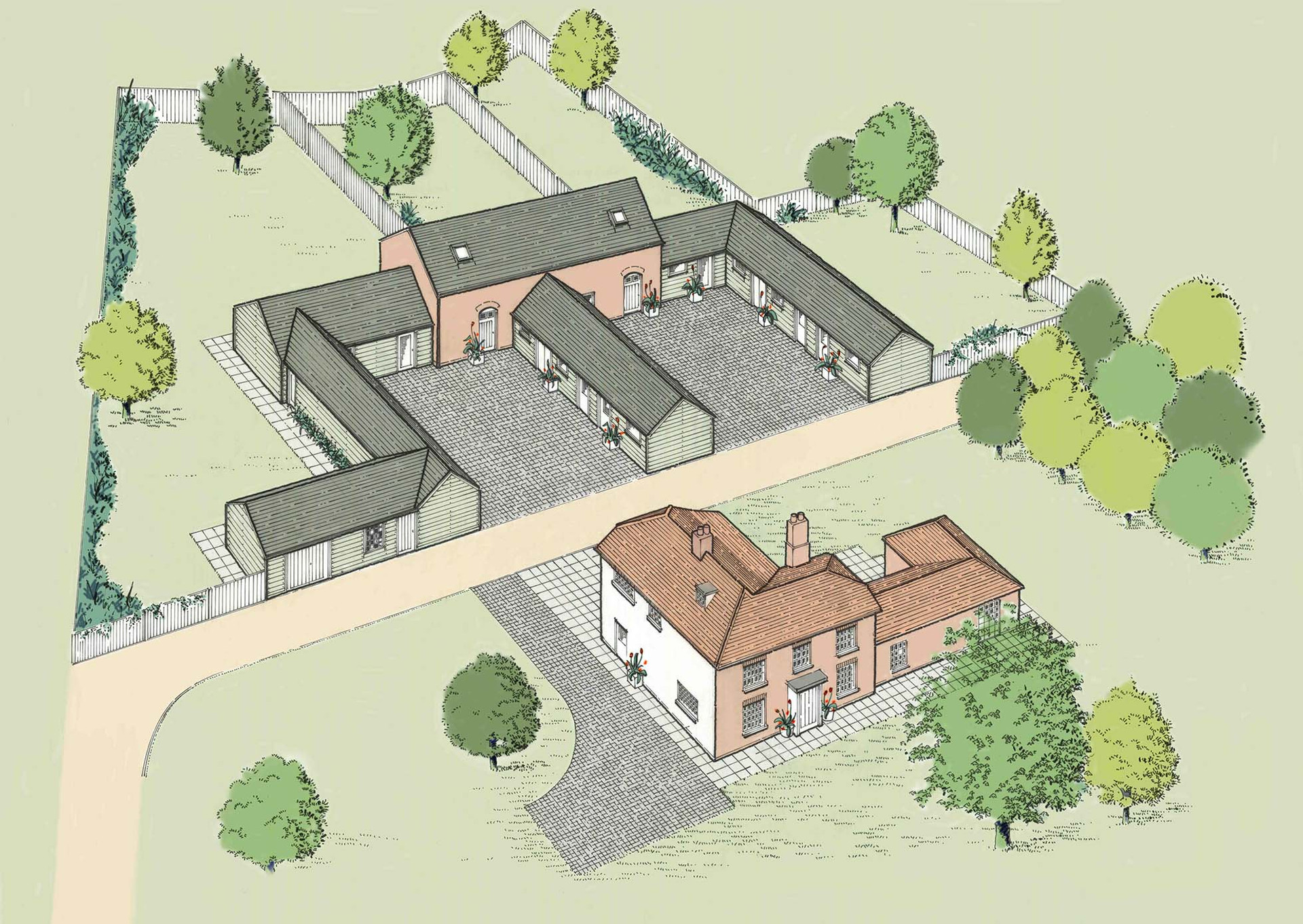 Farmhouse conversion and restoration illustration