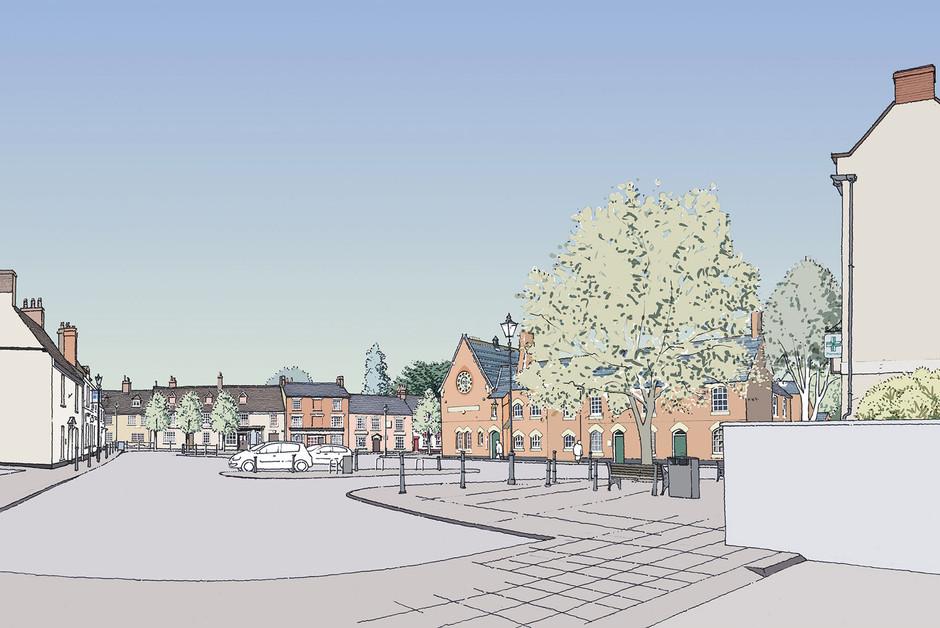 Stony Stratford Market Square Illustration
