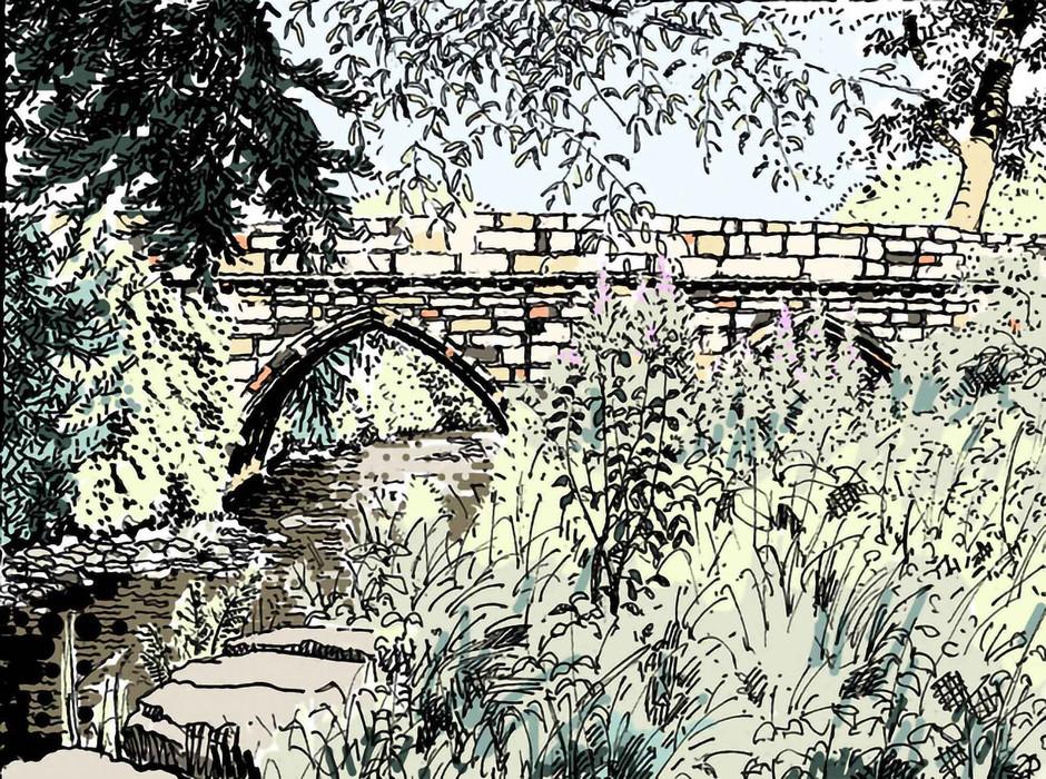 Fountains Abbey Bridge Illustration