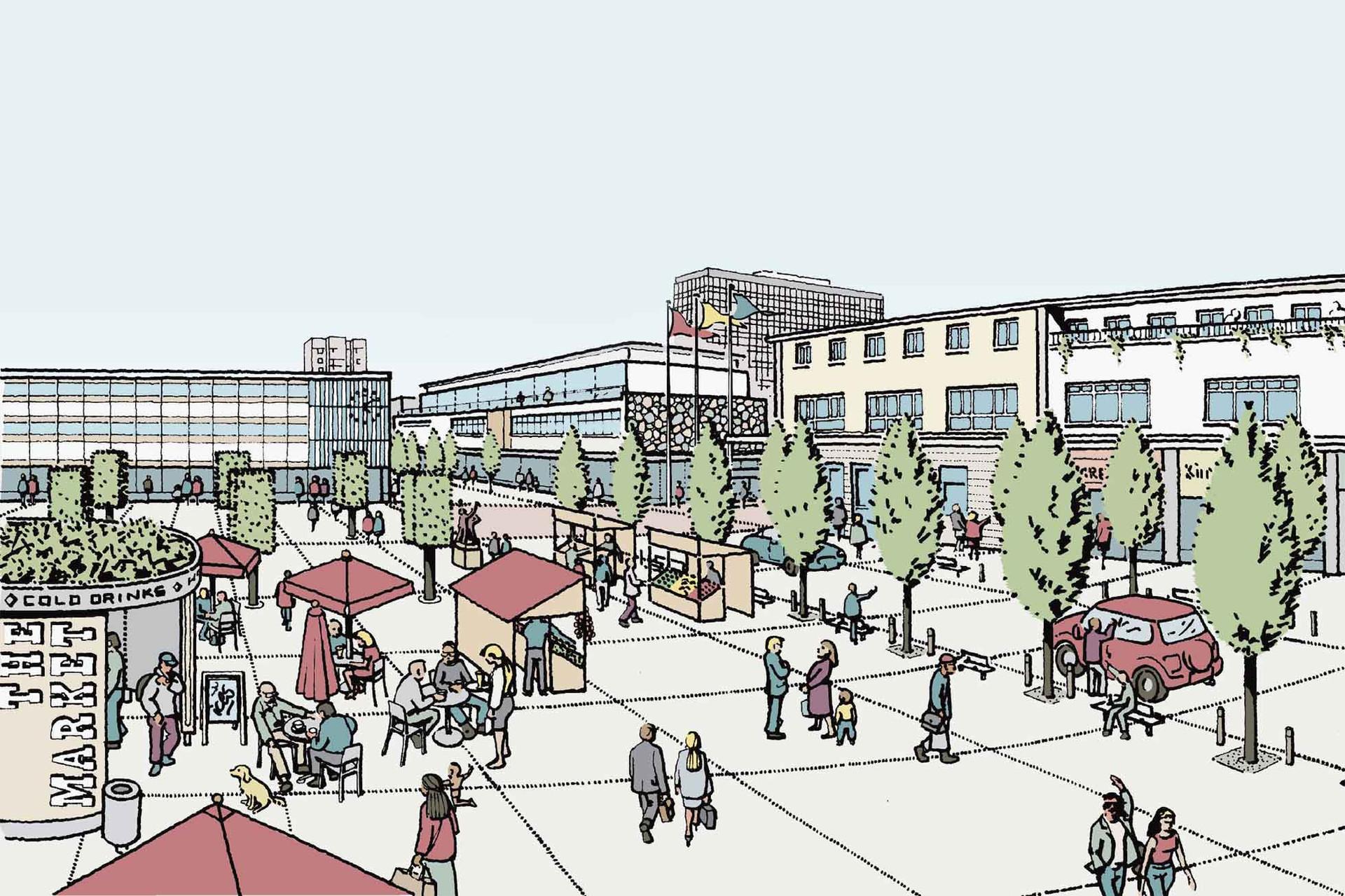 Market Square regeneration Illustration