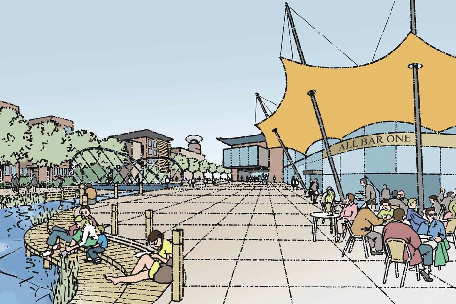 Proposed Medway riverside plaza illustration