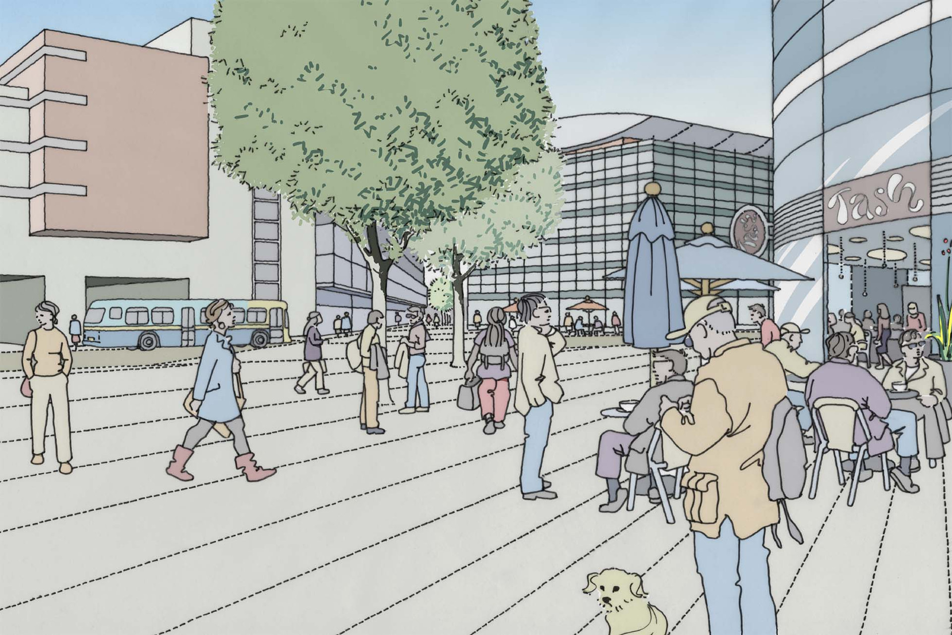 Traffic-free public shopping plaza perspective drawing