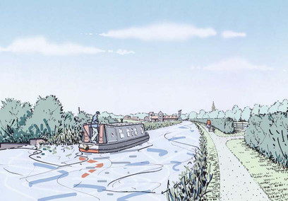 Proposed canal reinstatement showing towpath and associated landscape - approach to Buckingham