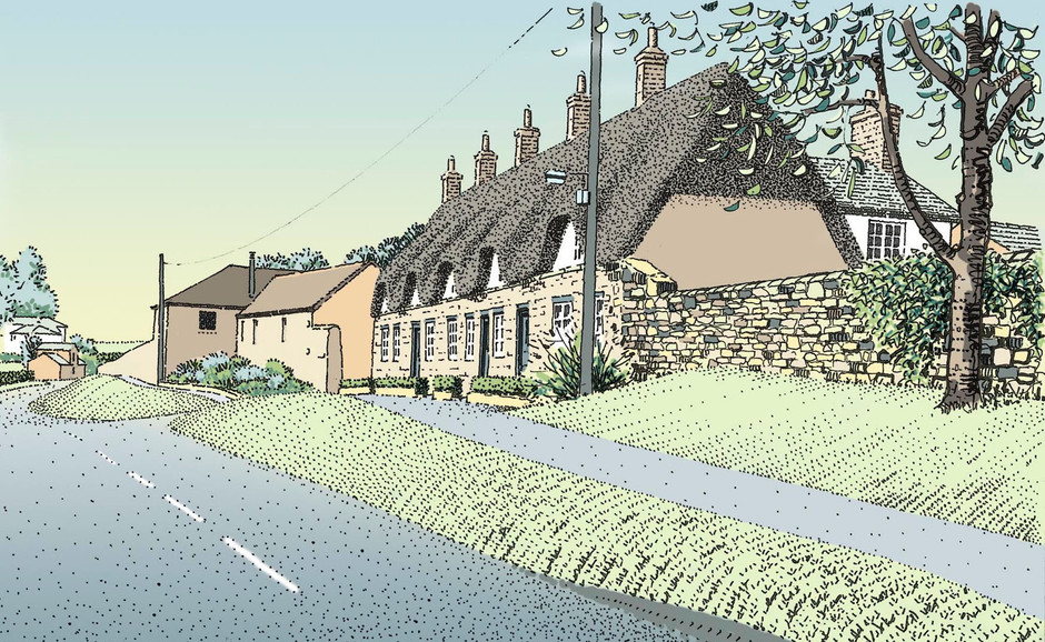 Illustrator's drawing of cottages