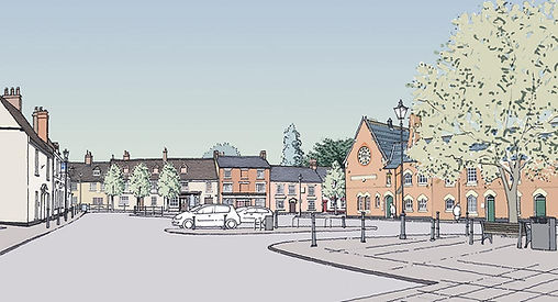Illustration of Stony Stratford Market Square by architectural illustrator Stephen Peart