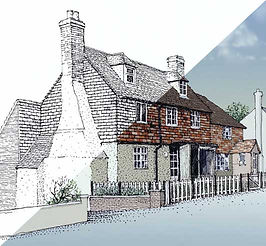 A Cottage shown half in black & white and half colour rendered