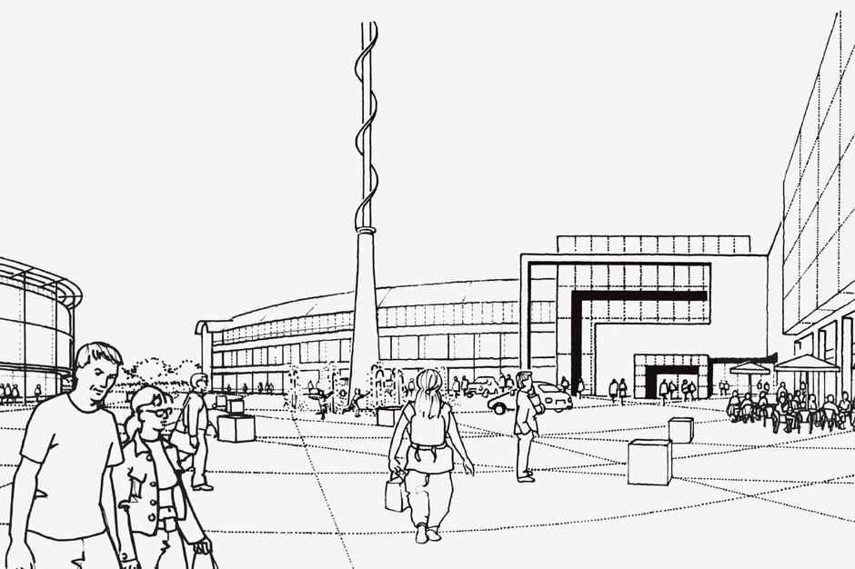 Black & white public plaza illustration