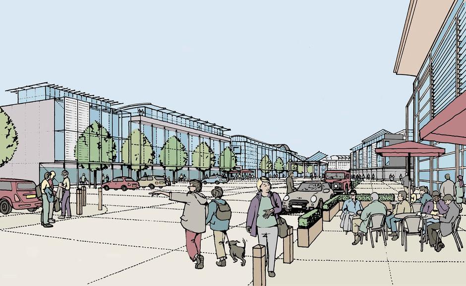 Shopping plaza illustration