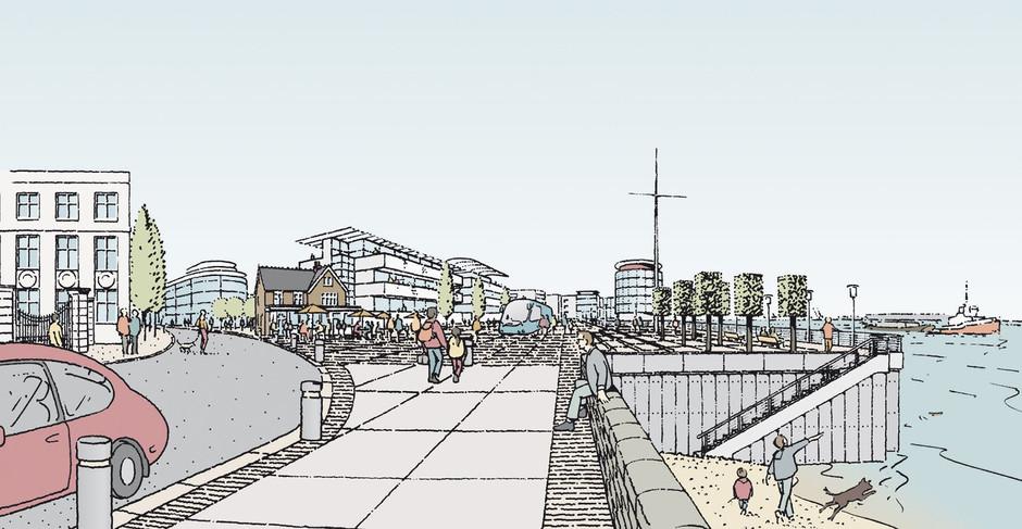 Proposed riverside promenade illustration