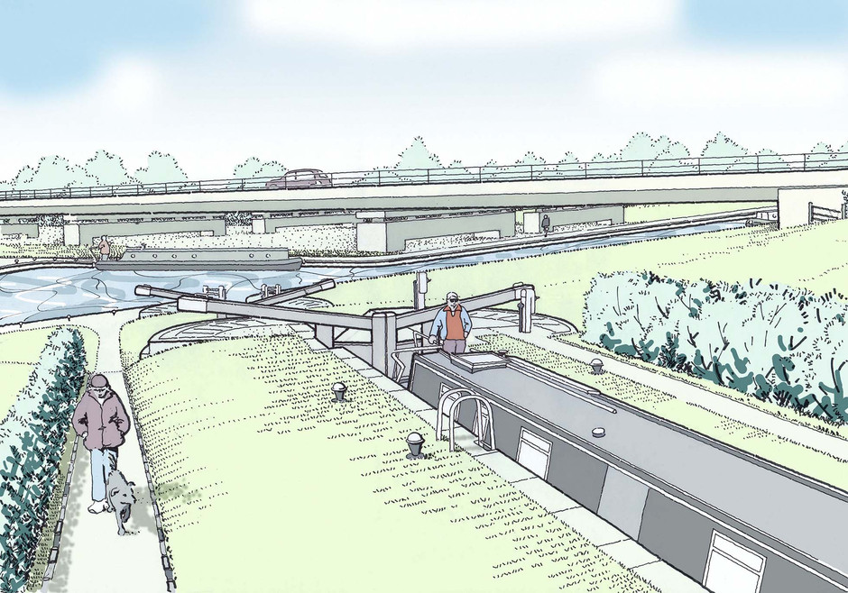 Illustration of proposed new lock close to A5 viaduct