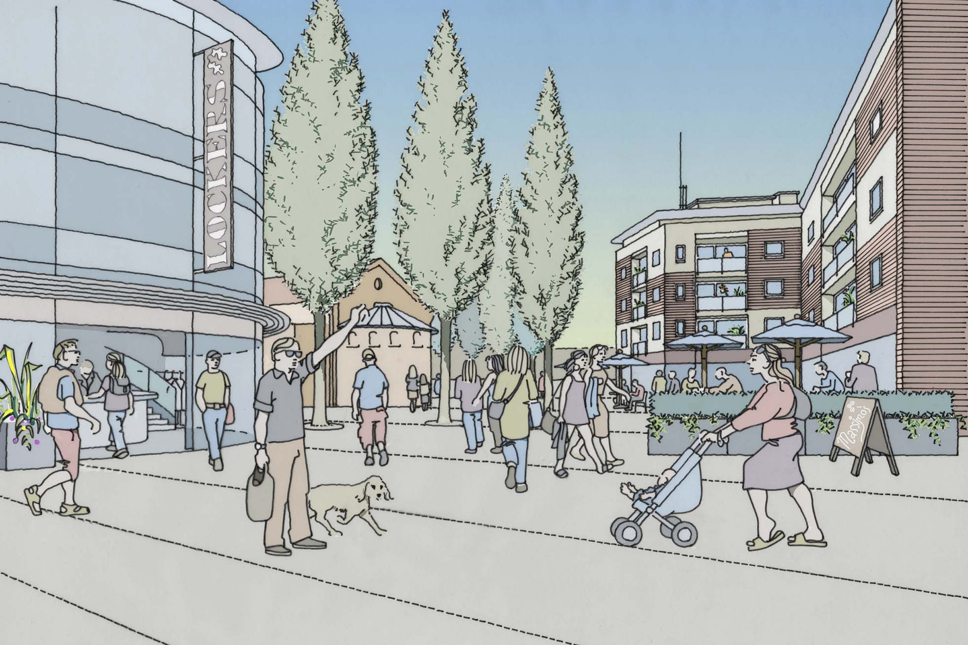 Proposed shopping precinct illustration