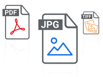 Icons of Illustration Delivery Formats - PDF, JPG and TIFF