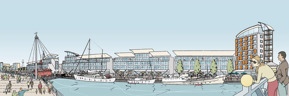 Artist's impression of proposed riverside development