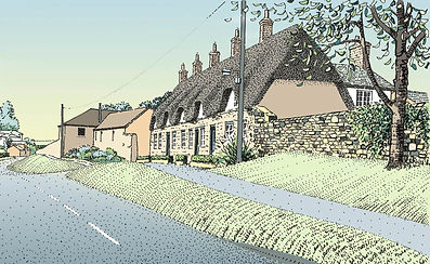 A commissioned illustration of cottages beside a road at Calverton in Buckinghamshire