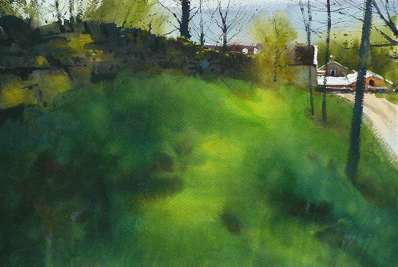 Area of soft green grass, bordered with tees and wall. Painting by Paul Talbot-Greaves