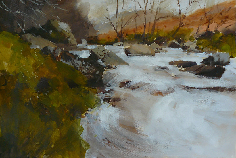 Flowing water down a river. Banks either side. Painting by Paul Talbot-Greaves